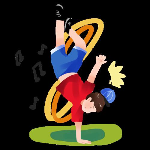 跳街舞的男孩卡通图片