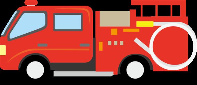 扁平化消防车卡通图片