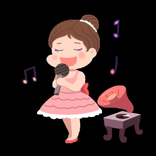 唱歌的女孩音乐插画