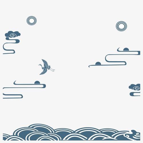 中国风海浪祥云图案
