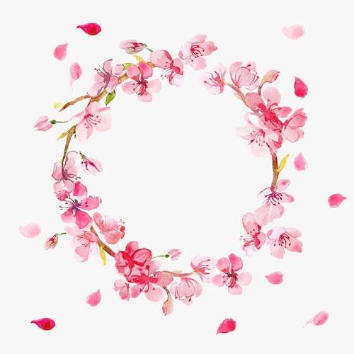 粉色桃花花环图片
