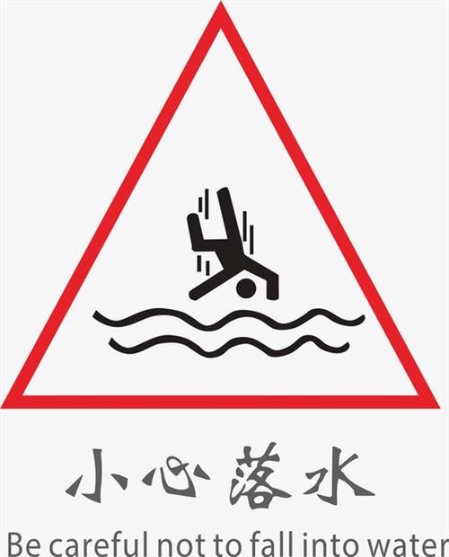 小心落水警示牌图标