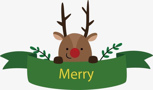 圣诞卡通彩带标签