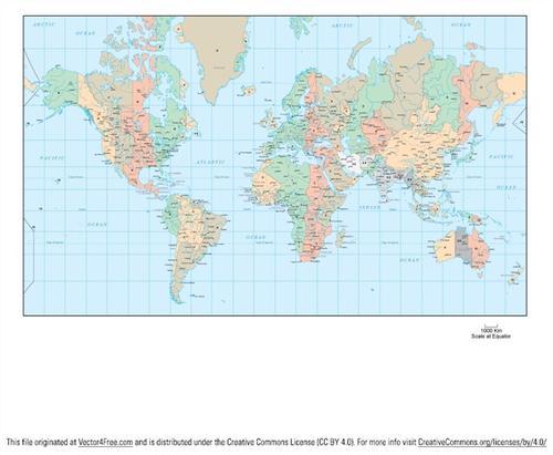 世界地图矢量图中文版