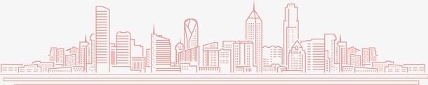 红色线性城市剪影