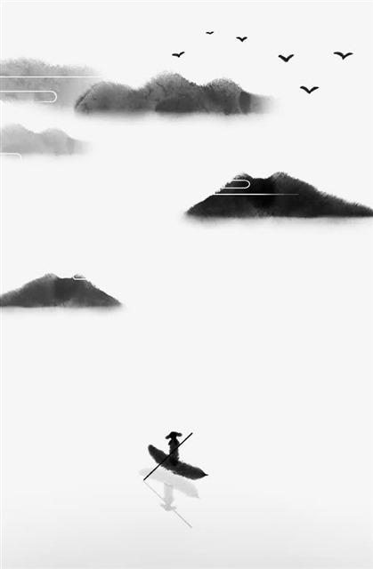 黑白水墨山水画图片