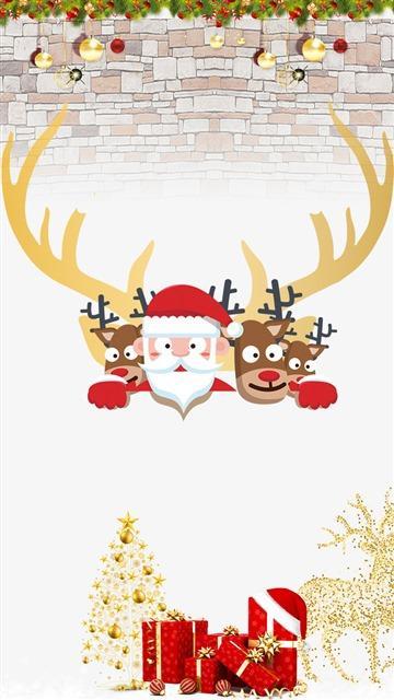 卡通圣诞老人麋鹿插画图片