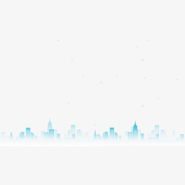 手绘蓝色城市建筑免抠素材