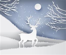 手绘立体风圣诞麋鹿贺卡