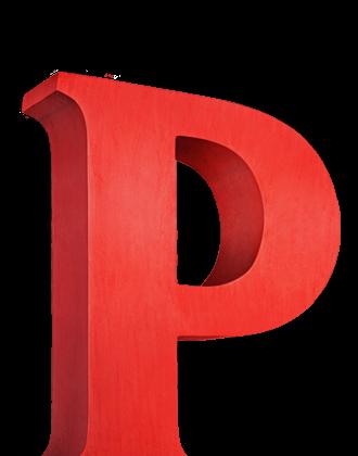 红色立体字母P