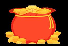 金币福袋矢量图片