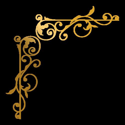 金色花纹边框免抠图