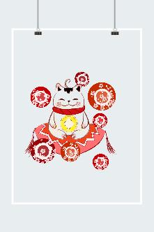日本招财猫插画