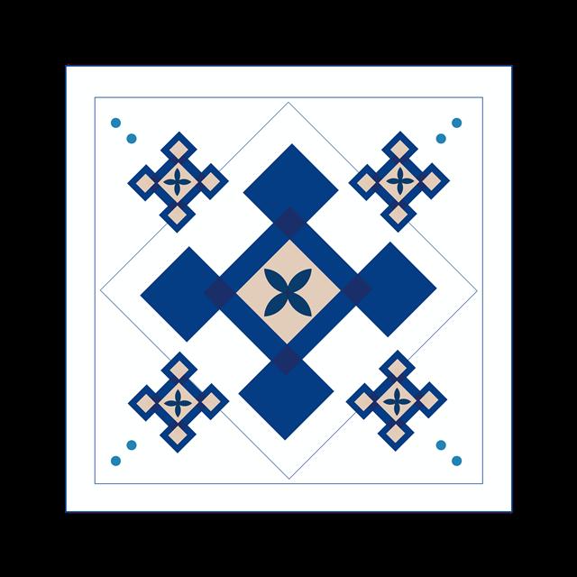 蓝色花纹边框
