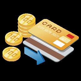 银行卡金币插画