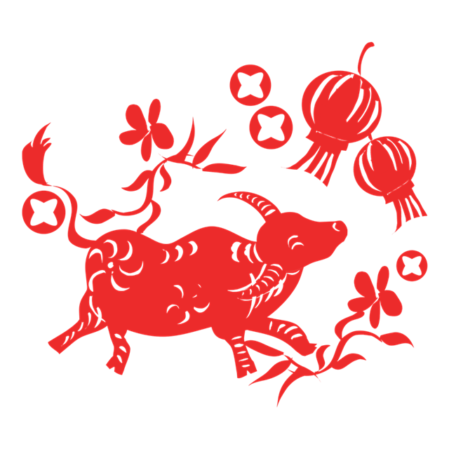 牛年生肖剪纸图片