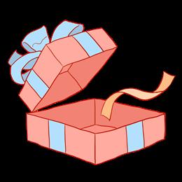 打开的红色礼物盒