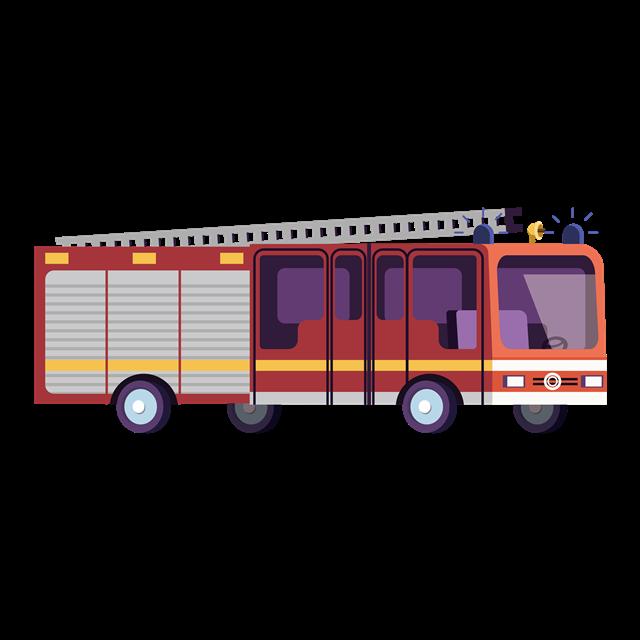 卡通消防车免抠图