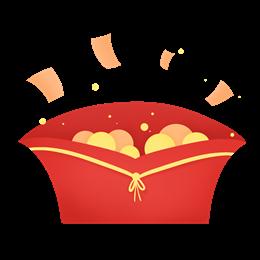 扁平化金币红包元素