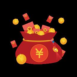 新年红色系电商福袋金币