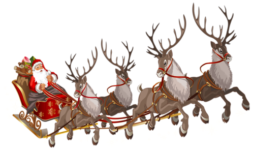 圣诞老人坐雪橇送礼物