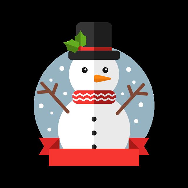 扁平化圣诞节雪人