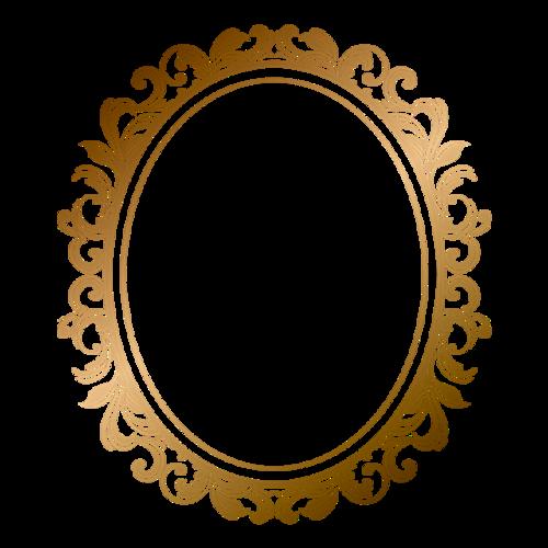 金色圆形边框花纹