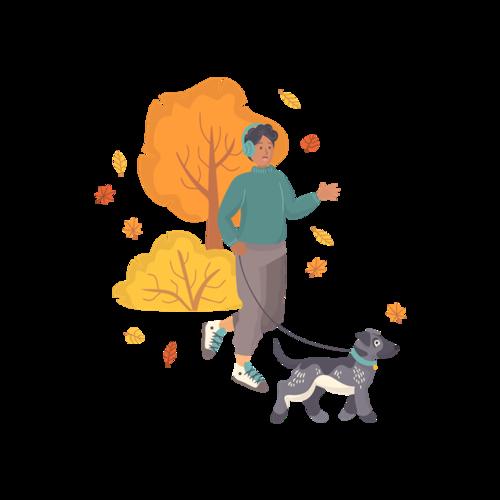 男孩牵狗动漫图片