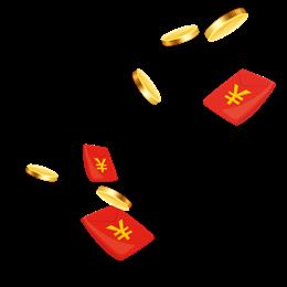 漂浮的金币红包雨图片
