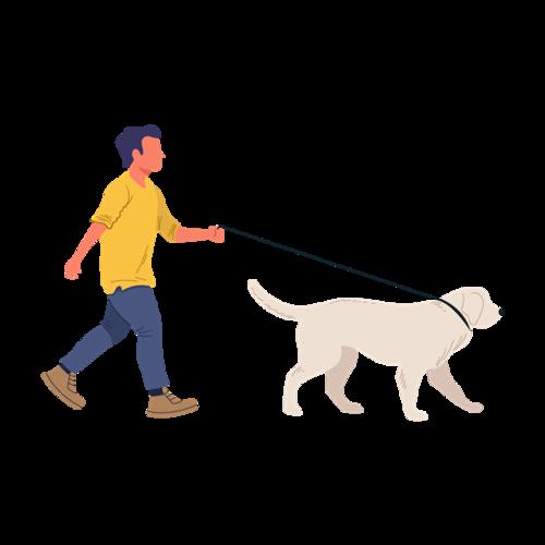 男孩牵狗卡通图片