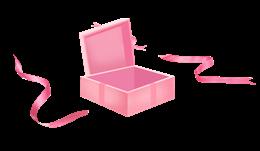 打开的粉色礼盒图片