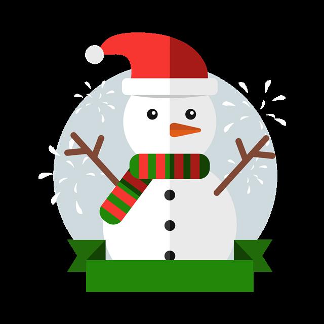 扁平风圣诞雪人
