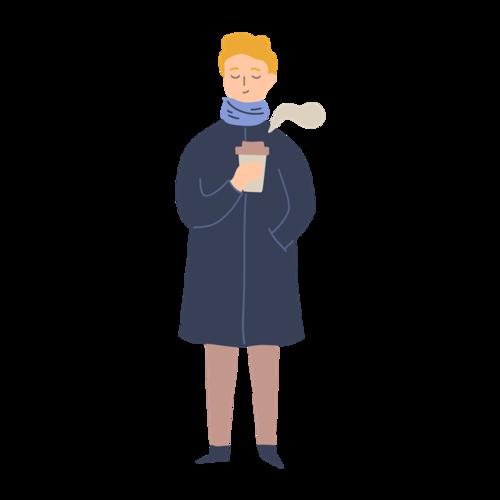 秋季喝咖啡女孩卡通图片