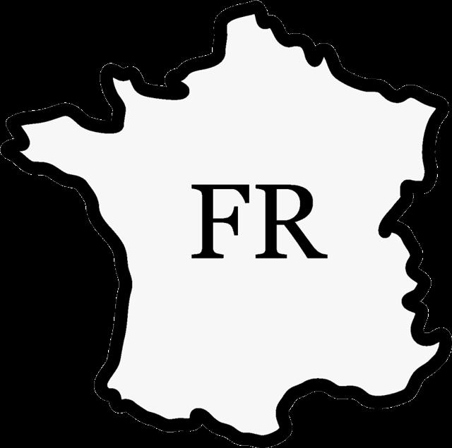 黑白法国地图