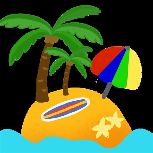 卡通沙滩元素
