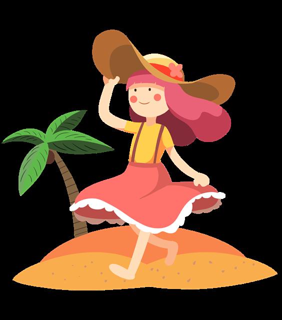 带太阳帽的女孩图片