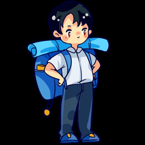 背旅行包的男生图片
