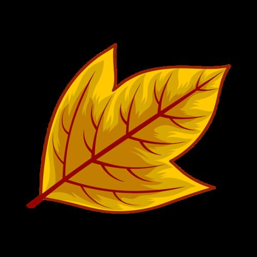 黄色卡通落叶