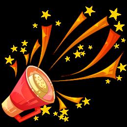 五角星彩带手绘喇叭