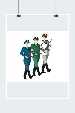 军队军人形象矢量图