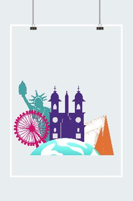欧美旅游景点建筑插画