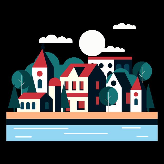 彩色村镇风景画