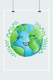 爱护地球卡通插画