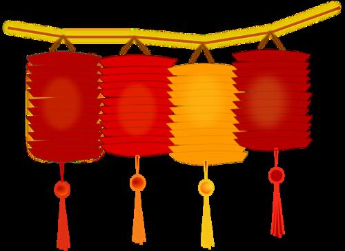大红灯笼节日元素