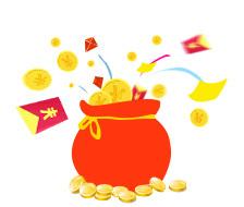 福袋飞出钱币图片