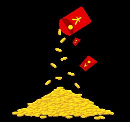 红包倒金币矢量图