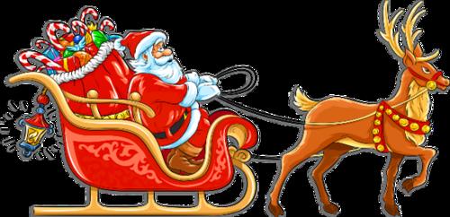 卡通驯鹿圣诞老人雪橇图片