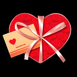 爱心礼盒图片花束