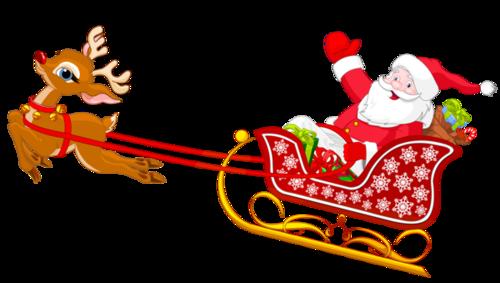 圣诞老人雪橇车插画