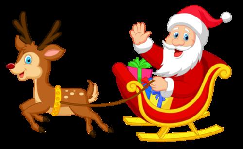 圣诞老人麋鹿主题插画